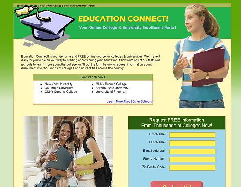 screen capture of education connect